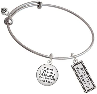 Delight Jewelry Silvertone Ride Like You Stole It You are More Loved Bangle Bracelet