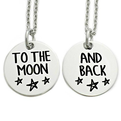 To The Moon And Back Necklace - Set Of 2 - Engraved Jewelry - 1391