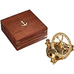 "Solid Brass 3"" Sundial Compass - W/Inlaid Hardwood Box"