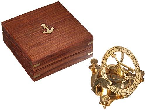 "Solid Brass 3"" Sundial Compass - W/Inlaid Hardwood Box"