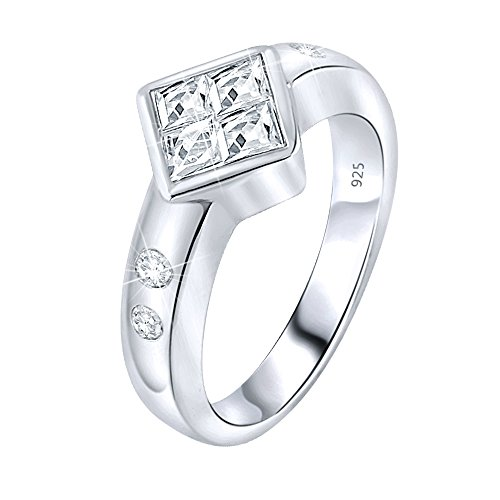 (Women's Sterling Silver .925 Wedding Engagement Ring Featuring a Sparkling Invisible Set Fancy Princess Cut Cubic Zirconia (CZ) Stone, Platinum Plated. Sizes 5-11)