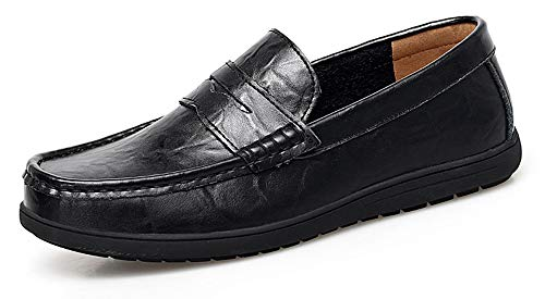 Go Tour Mens Loafers - Italian Dress Casual Loafers for Men - Slip-on Driving Shoes Black 11/47