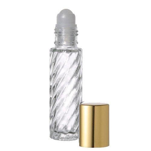 10 .33 Fl. Oz./10ml Swirled Glass Roll on Bottles Refillable