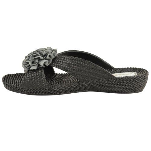 Sandalias planas de plástico con flor para mujer chanclas de verano calzado de playa talla Negro