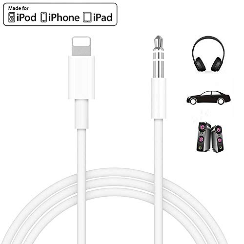 [Apple MFi Certified] iPhone Aux Cord for Car, Lightning to 3.5mm Audio Stereo Cable Compatible for iPhone 11/11 Pro/XS/XR/X 8 7,3.3ft Male Audio Adapter for Car Home Stereo &Headphone Support iOS 13