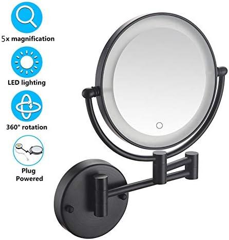 プラグ、8インチ???浴室鏡360°スイベル拡張可能(ブラック)を搭載したLEDライトアップ壁掛けミラー、倍率タッチスクリーン付