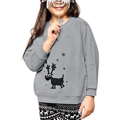 - SANFASHION Family Sleepwear Suit Man Woman Baby Wapiti Christmas Pajamas Set Sleeve Long Nightgown Top Pants (Gray Child 3, XL)