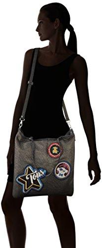 Tous Shopping Jodie Medallion de Nylon, Shopper para Mujer, Negro (Black), 1x42x37 cm (W x H x L)