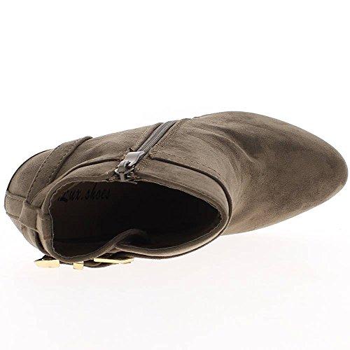 Bottines femme taupe simili daim talon fin de 11,5cm