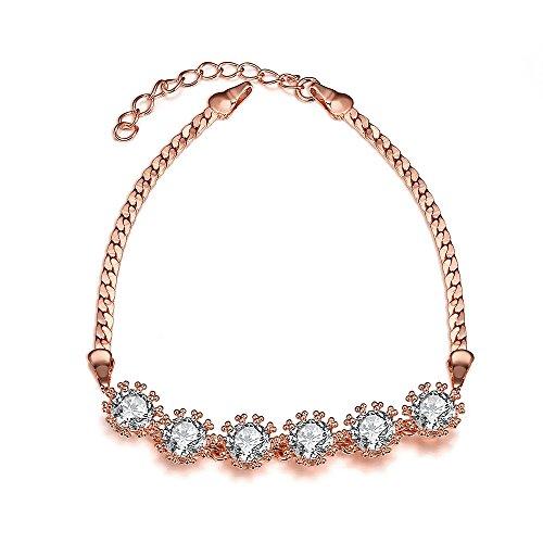 Naivo Tennis Style Gold Plated Bracelet (Rose Gold Plated Six-Sphere Crystal Pav'e Bracelet) - Pave Sphere