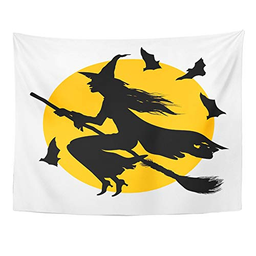 Emvency Tapestry Polyester Fabric Print Home Decor This Drawing The Witch Flying on Broom Against Full Moon is Represented Wall Hanging Tapestry for Living Room Bedroom Dorm 60x80 -