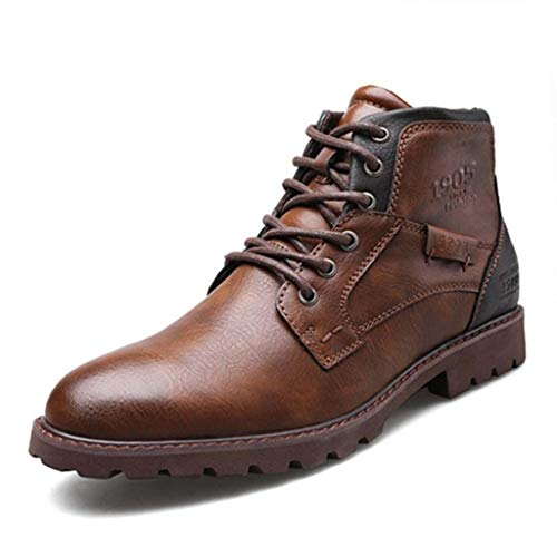 Men's Lace Style Fashion Martin Boots Retro Print Men's Boots Side Zipper Section Microfiber Leather Tooling Boots Men's Shoes Autumn and Winter High Shoes Desert Boots (Color : Brown, Size : 42)