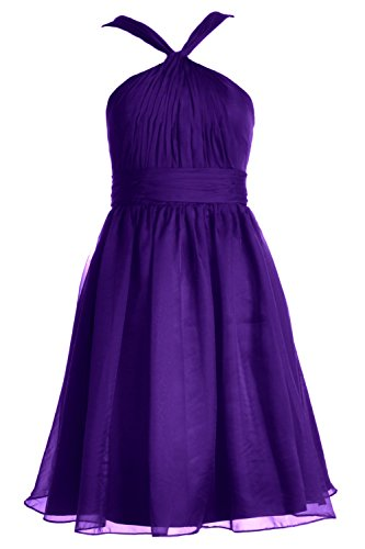 MACloth Women Knotted Chiffon Short Bridesmaid Dress Formal Cocktail Party Gown Morado