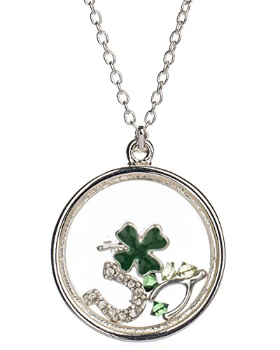 Jewelry Nexus Silver-Tone Irish Theme Clover Wishbone Horseshoe & Luck Floating Charm Locket Necklace