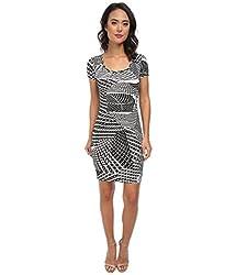 Calvin Klein Women's Short Sleeve Printed Jersey Dress CD5AX7A3 Black/White Dress 12