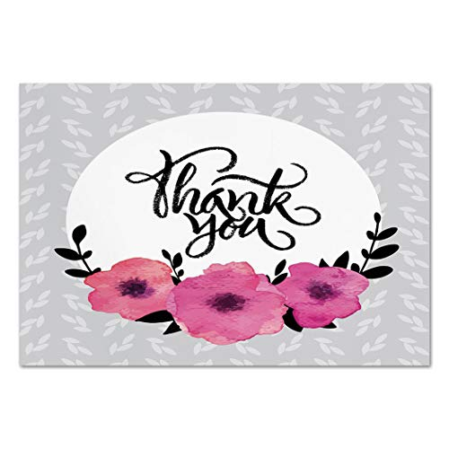 Large Wall Mural Sticker [ Modern Decor,Rounded Thank You Quote above Purple Flowers Behind Leaf Ivy Background,Grey and White ] Self-adhesive Vinyl Wallpaper / Removable Modern Decorating Wall ()