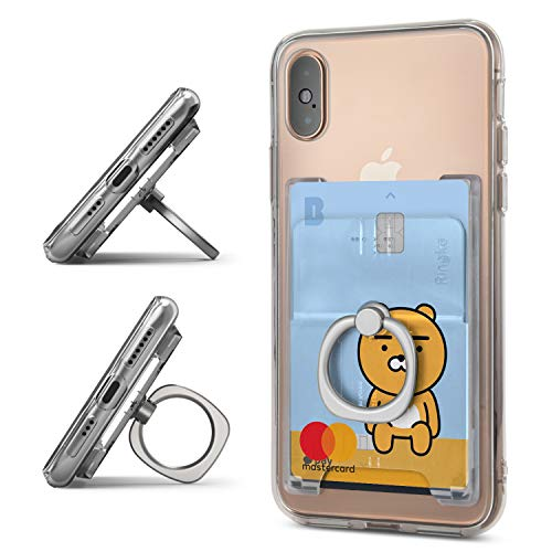 Ringke Ring Slot Card Holder [Clear Mist] Slim Hard Premium PC Credit Card Accessory Attachment with Finger Ring Compatible for iPhone, Galaxy, Pixel and More -