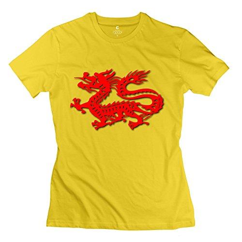ZZY New Design Chinese Dragon T-shirt - Women's T-shirt Yellow Size XXL
