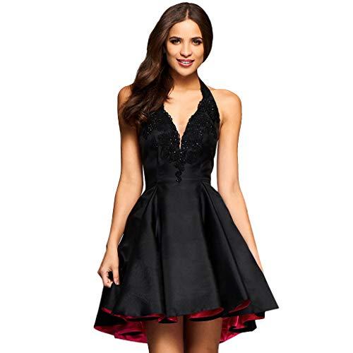 Halter Ballet Bubble,Women Sleeveless Hanging Neck Party Prom Cocktail Blackless Wedding Dress & ANJUNIE(Black,XL)