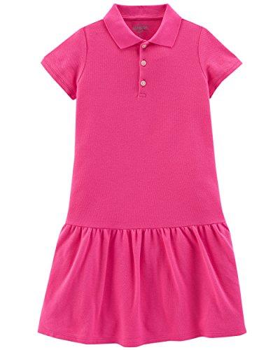 Osh Kosh Girls' Toddler Uniform Polo Dress, Bright Pink, 5T