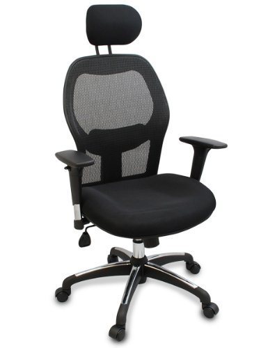 """Walker"" Fully Adjustable Mesh Office Computer Chair with Adjustable Lumbar Support, Adjustable Armrests, Adjustable Headrest and Multi-Position Recline Control (Black Wheels)"