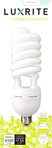 Luxrite LR20218 (2-Pack) 65-Watt High Wattage CFL Spiral Light Bulb, Equivalent To 300W Incandescent, Daylight 6500K, 4100 Lumens, E26 Standard Base 300w Incandescent Bulb
