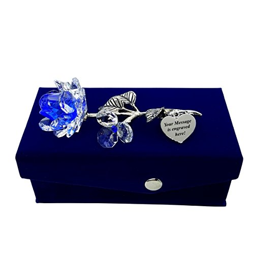 Crystal Florida Crystal Blue Milano Rose in Velvet Box with Customizable Silver Heart Tag