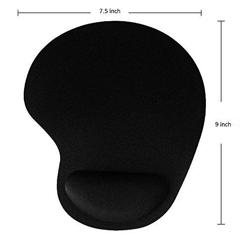 Ergonomic Mouse pad with Wrist Support - Leadpo Black Silicone Gel Wrist Support Mouse Pad Mat for Laptop Desktop - Non-slip Rubber Base Photo #3