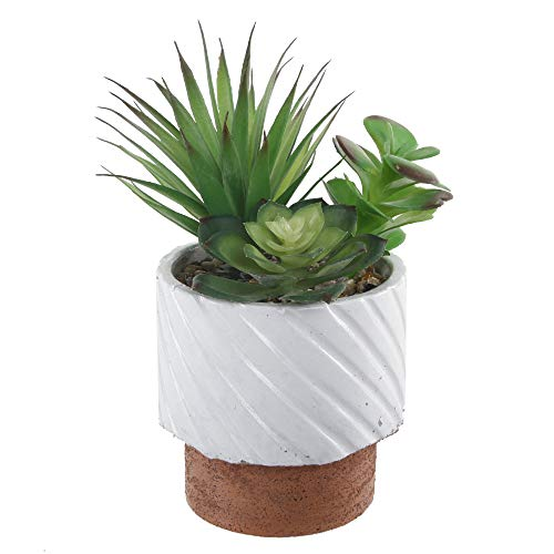 Flora Bunda Modern Concrete Artificial Succulent Mix in Cement White Reverse Pot
