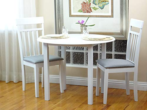 SunBear Furniture Dining Kitchen Set of 3 Round Table and 2 Classic Solid Wood Warm Chairs in White Finish (White Dining Table Classic)
