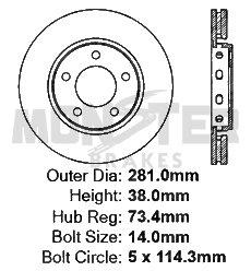 High-End 2 OEM Replacement Disc Brake Rotors Fits:- Dodge Chrysler 5lug Front Rotors