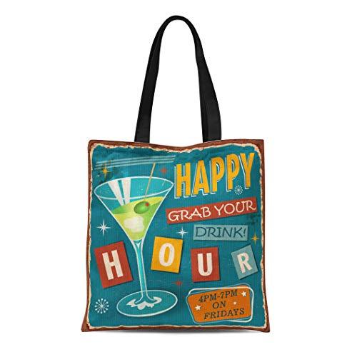 Semtomn Cotton Canvas Tote Bag Martini Vintage Happy Hour Metal Sign Retro 1950S 1960S Reusable Shoulder Grocery Shopping Bags Handbag Printed