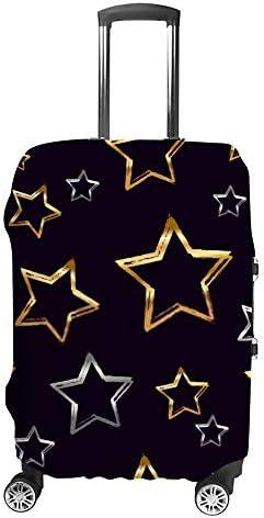 スーツケースカバー 伸縮素材 トラベルダストカバー キャリーカバー 紛失防止 汚れや傷防止 お荷物保護 トラベルダストカバー 着脱簡単 通気性 海外旅行 出張用 便利グッズ 男女兼用 金色と銀色の星のパターン