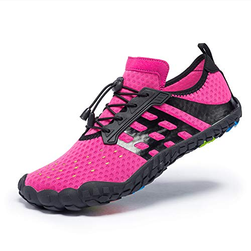(FEIFAN Men Women Water Shoes Quick Dry Adult Beach Swim Barefoot Lightweight Shoes FiveFingers Water Shoes Pink 40)