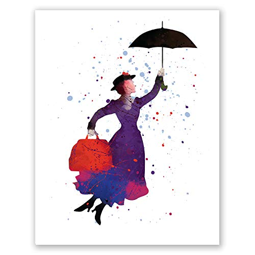 PGbureau Mary Poppins Nursery Poster - Kids Room Print - Children's Wall Art Home Decor - Party Decoration - Watercolor Artwork - Baby Birthday (8x10)