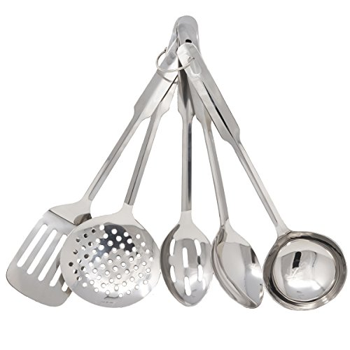 Amco 8796 Stainless Steel 5-Piece Utensil Set,Medium (Medium Ladle)