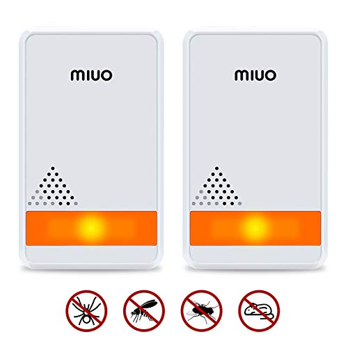 MIUO 2-pack Ultrasonic Pest Repeller Indoor Non-toxic Safe for Child and Pets 1200 sq.ft Coverage Energy Saving with LED Night Light Plug-In Electronic Ultrasonic Pest Control Repeller for Mice/Insect
