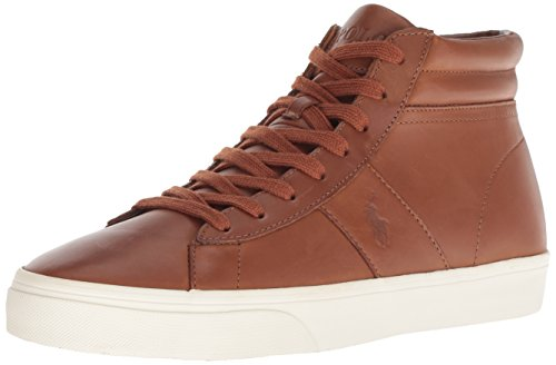 Polo Ralph Lauren Men's Shaw Sneaker, deep Saddle tan, 9.5 D (Polo Ralph Lauren Saddle)