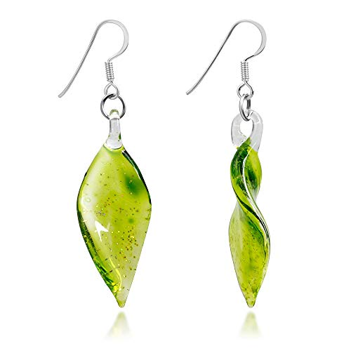 925 Sterling Silver Hand Blown Venetian Murano Glass Green Leaf Long Dangle Long -