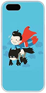 Cartoon Superman Carrying Batman Retro Vintage Apple iPhone 5c 5c Case, iPhone 5c Hard Shell White Cover Cases by iCustomonline