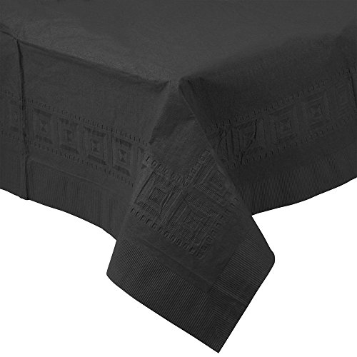 "Perfectware Table Covers Disposable Table Covers Black 2-Ply Tissue and 1-Ply Poly, 0.1"" Height, 108"" width, 54"" Length (Pack of 3)"