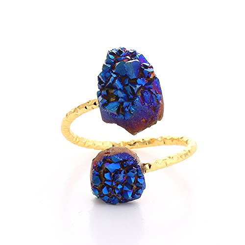 Natural Freeform Druzy Stone Adjustable Rings Fashion Open Rings for Women Jewelry 6 Colors (Blue)