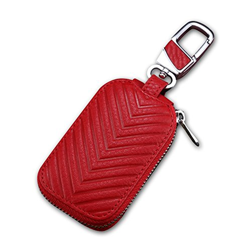 KUMEED Car Key Chain Bag Genuine Leather Smart KeyChain Coin Holder Case Cover Pouch Remote Key Fob Bag Keyring Wallet Zipper Case Red