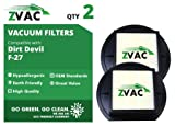 2 Dirt Devil F-27 HEPA Filters Generic Part By ZVac. Replaces Part Numbers 1LY2108000, 1-LY2108-000 Fits: Dirt Devil Pets Bagless Upright Models UD40305, UD40275, M140000