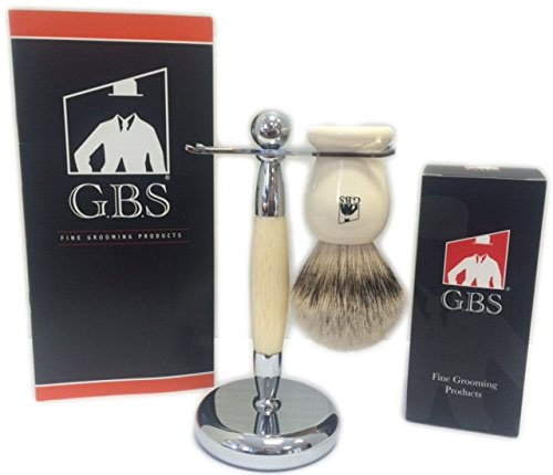 Deluxe Super Silvertip badger shaving brush faux ivory with Brush and Razor Stand. extra dense extra soft 24 mm knot