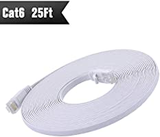Cat 6 Ethernet Cable 25ft White (At a Cat5e Price but Higher Bandwidth) Cat6 Flat Internet Network Cables - Ethernet Patch Cable - Computer Lan Cable Short for Modem
