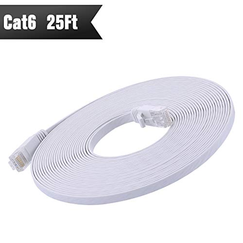 Cat 6 Ethernet Cable 25 ft (at A Cat5e Price but Higher Bandwidth) Cat6 Network Cable - Ethernet Patch Cable - Computer Internet Cable with Snagless RJ45 Connectors –Enjoy High Speed Surfing - White