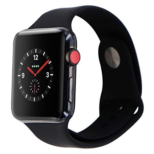 Apple watch series 3 Stainless steel case 42mm GPS + Cellular GSM unlocked (Space black stainless steel case with black sport band) (Renewed) ()