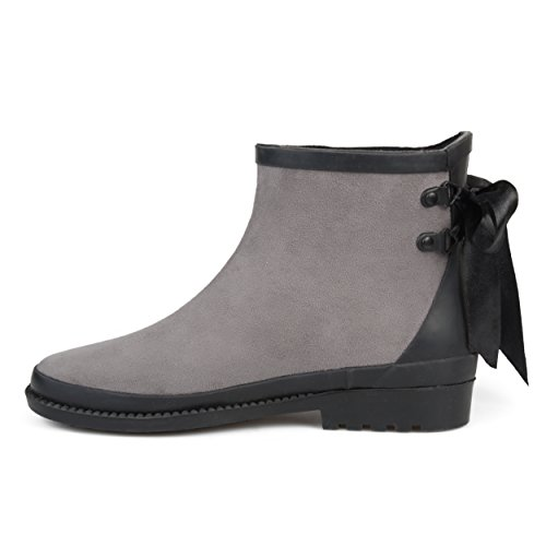 Journee Collection Mujeres Bow Faux Suede Botines RainBotas Gris