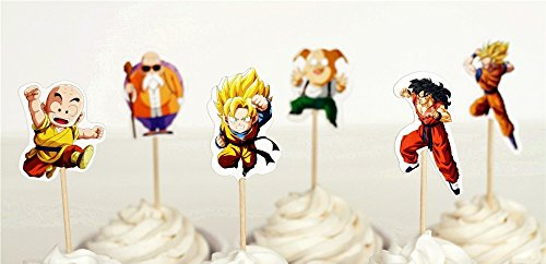 Dragon Ball Z Dessert Cupcake Toppers for Birthday Party (Pack of 24)